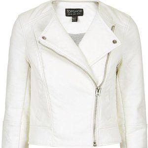 Topshop Faux White Leather Jacket (Size 2)